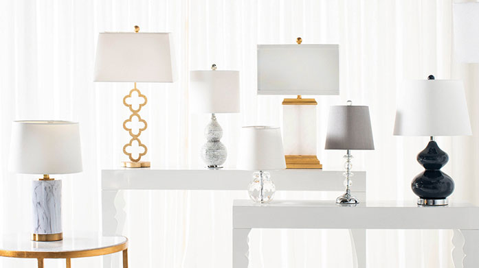 Safavieh Lighting Pick up the perfect pair of elegant lamps in chic marble, navy, sparkling styles with a gold finish or a luxe floor lamp from our latest Safavieh edit.