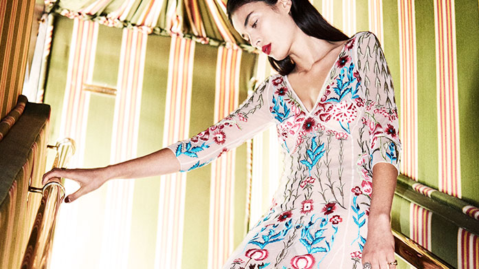 Temperley London Temperley London's collection is typified by modern bohemian prints and feminine silhouettes. Limited sizes available - while stock lasts!