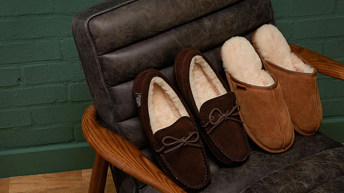 Autumn Slipper Boutique for Him Slip into your most comfortable shoe yet with our collection of men's sheepskin slippers. Shop mules, moccasins and slides.