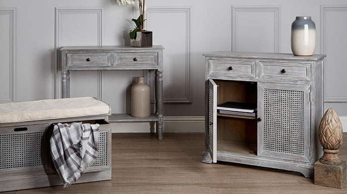 Stylish Storage Solutions New stock just in! Update your interior storage with new furniture, from display units and wooden sideboards to media units and open wardrobes!