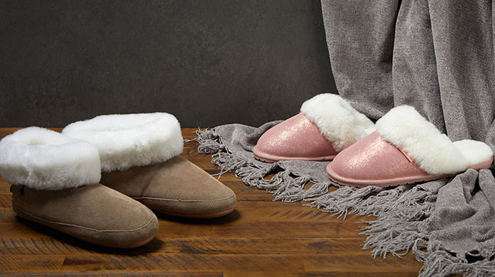 Fenlands Pure Sheepskin Slippers for Her Keep feet plush and warm this winter in these luxurious, genuine sheepskin slippers by Fenlands. Perfect for Christmas gifting!