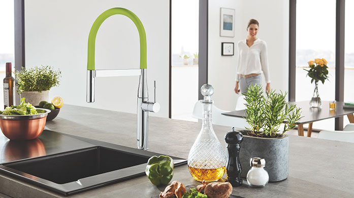 GROHE Kitchen Unite form and function with contemporary flare using GROHE's range of stylish kitchen taps and sinks from our new collection.