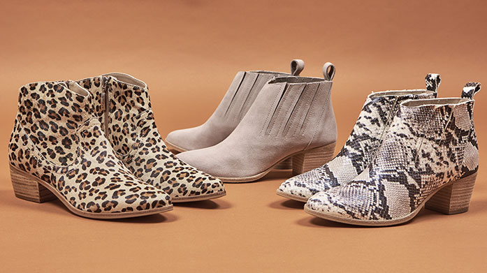 Get Your Print On: Shoes Put your best print forward in a pair of on-trend leopard print ankle boots, snakeskin western boots, striped pumps or tropical flip-flops.