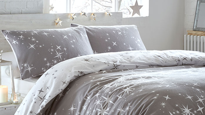 Cosy Nights Bedding Keep warm and cosy in bed during the winter months with this collection of brushed cotton linens and patterned duvet sets.