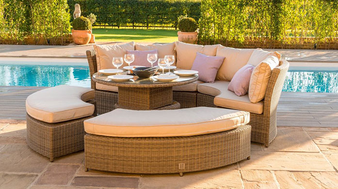 Garden Furniture by Maze Rattan Maze's chic range of garden furniture is crafted from weatherproof rattan to keep it looking impeccable season after season.