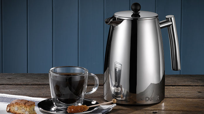 Buyer's Pick: Dualit Cafetiere Dualit's elegant, stainless steel Cafetière is easy to use and due to its patented double filter, leaves you with a smoother cup of coffee.