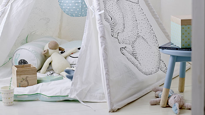 Bloomingville Delightful soft furnishings for your little one's bedroom. There's soft cotton cushions, a children's tipi to match and a range of mini accents.