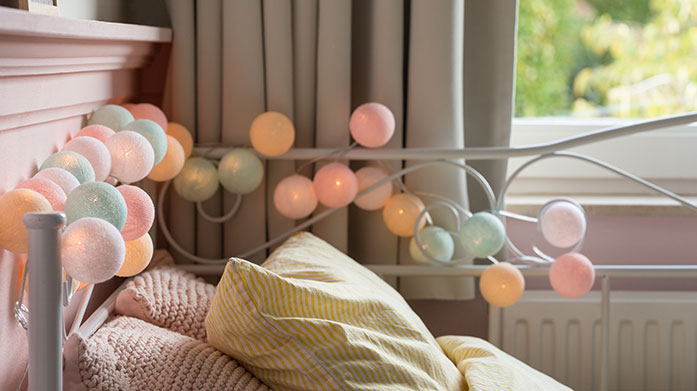 Colourful String Lights Bring some colour into your home or light up your garden with our collection of colourful indoor and outdoor cotton ball string lights.