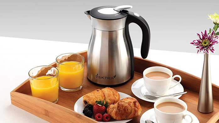 Vektra Insulated Kettles Keep boiled water hot for up to four hours with Vektra's stylish, energy-saving insulated eco kettles in a range of designs.