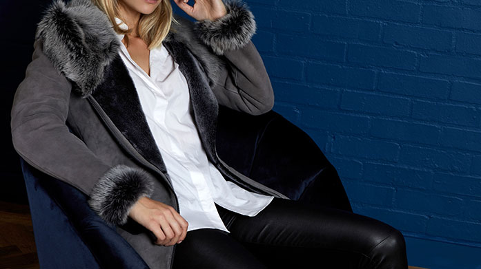 Shearling Boutique Step into our shearling boutique and browse this glam collection of shearling wrap coats, biker jackets and headbands.