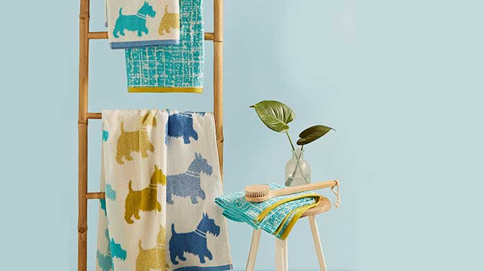 Helena Springfield Towels  The Helena Springfield towel collection offers a modern approach to vintage textiles and textures. Choose from floral, stripe and geo designs.