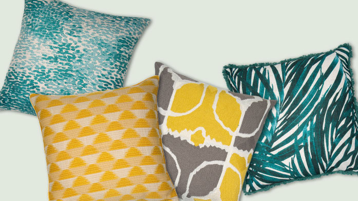 Teal & Mustard Cushions Teal & Mustard Yellow – two bold, saturated colours to bring century glamour to your favorite seating area!