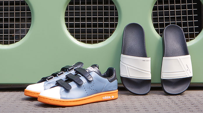 adidas by Raf Simons Women's Bright colour blocking and innovative shaping define adidas by Raf Simons shoes. Shop Stan Smith sneakers, leather sliders and more...