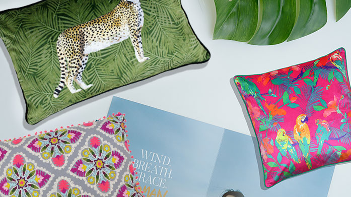 Club Tropicana This season, it's all about beach vibes! Bring the tropics into your home with an array of colourful, luxe cushions from RIVA home.
