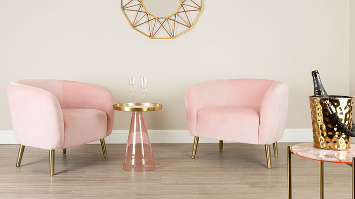 Pretty in Pink Furniture Stay on-trend with a new pink piece of furniture for your home. Choose from luxe velvet sofas and chairs to rose gold tables.