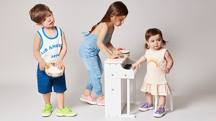 Kids Trainer Edit Get your kids a pair of stylish, comfortable kicks from our edit of children's trainers. Shop New Balance and Superga.
