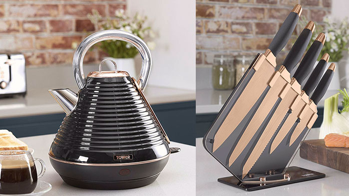 Tower Kitchen & Electricals A stylish selection of kitchenware and electricals by Tower, including rose gold pots, marble pans and a range of toasters and kettles to match.