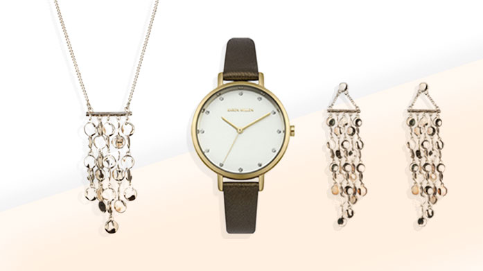 Karen Millen Jewellery & Watches Discover delicate gold, silver and rose gold watches and a range of stunning jewellery pieces by Karen Millen.