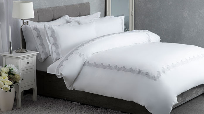 Maison Blanche Bed Linen Shop textured duvet sets, pretty patterned linens and classic white bedding from homeware masters, Maison Blanche.