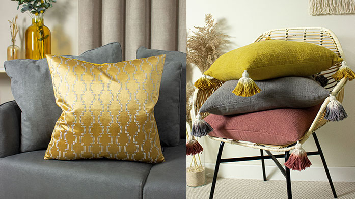 Branded Cushions & Throws Make the accents of your room count with an elegant coloured throw and scatter cushion, courtesy of Deyongs, Lanerossi and more.