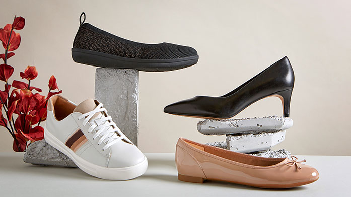 Clarks Women's - New Stock Added Celebrate spring with some fresh footwear from Clarks. Shop on-trend ballet pumps, transitional trainers, summer sandals, lightweight boots and more.