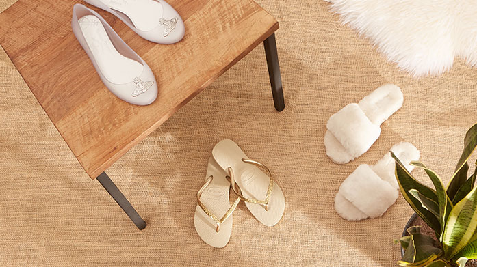 Queen Of Lounge! Slippers & Shoes Comfort is key in our at-home footwear edit for her. Consider sandals, flip flops, sliders and more from Havaianas, Fitflop and friends.