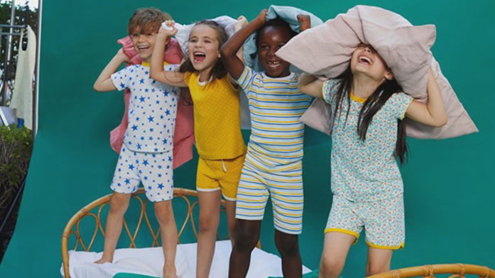 Mini Pyjama Party It's sleepover time! Find a range of children's' pyjamas for girls and boys from Mini Vanilla, Petit Bateau and Fat Face.