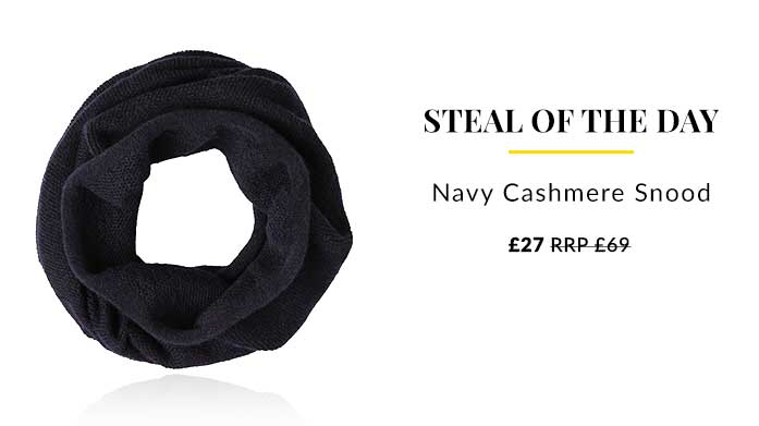 Steal Of The Day: Navy Cashmere Snood Layer in luxury with this ultimate cashmere snood in classic navy.