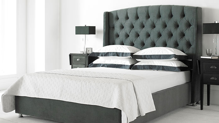 The Luxe Bed Frame Collection Give your bedroom a new lease of life with a luxury upholstered ottoman bed frame, velvet headboard and memory foam mattress.