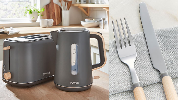 Tower Kitchen & Dining A stylish selection of kitchenware and electricals by Tower, including rose gold pots, marble pans and a range of toasters and kettles to match.