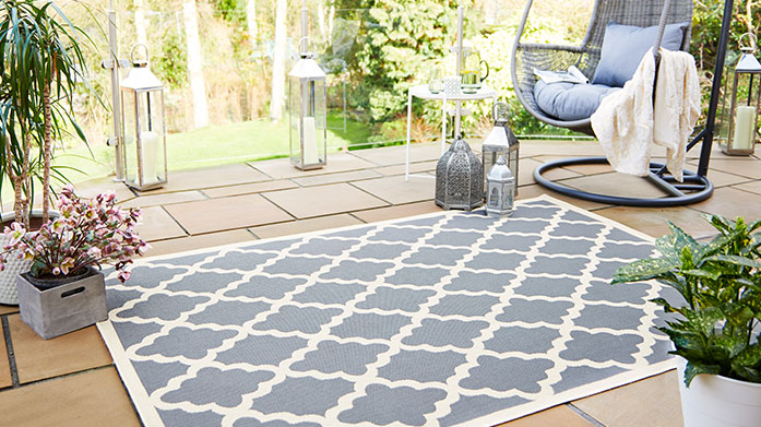 Florence Outdoor Rugs by Flair Interior styling for the outdoors: gorgeous garden-friendly rugs with funky, colourful geometric prints by  Flair.