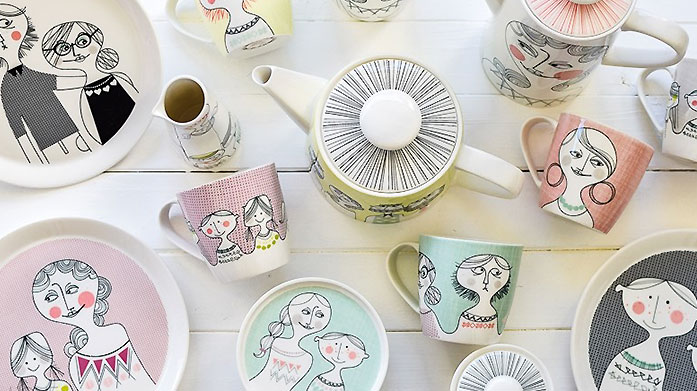 Sandra Isaksson Characterful ceramics from illustrator Sandra Isaksson to bring charm to your kitchen cupboards.