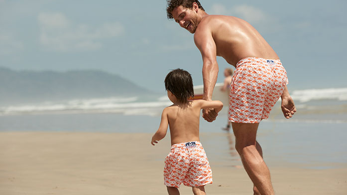 Mini Love Brand & Co Swim Shorts Get your little one a pair of boardshorts or swimming trunks to match your own from ethical swimwear brand, Love Brand & Co!