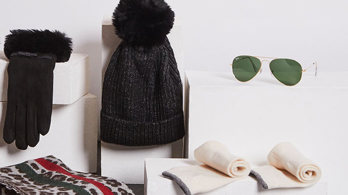 Ski Season Accessories Prepare for your ski season with this classically stylish collection of ski accessories, cashmere gloves, faux fur cover-ups and designer sunglasses.