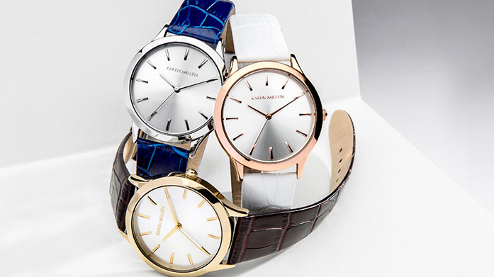 Karen Millen Watches Discover the Karen Millen watch collection with rose gold accents, intricate silver designs and all gold watches with elegant understated faces.
