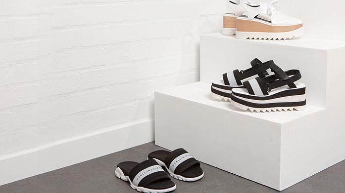 Stella McCartney Footwear Our statement shoes from Stella include cutout platform brogues, monochrome slides, iconic chunky trainers and espadrille plimsolls.