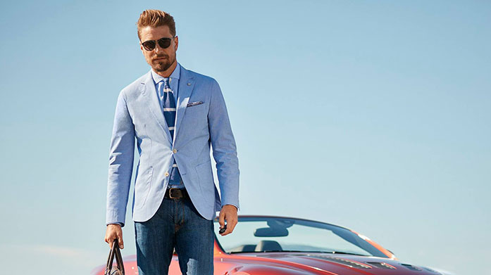 Hackett London Trust Hackett London to elevate your look. This collection features classic suits, polos and outwear in contemporary designs. Suits from £175.