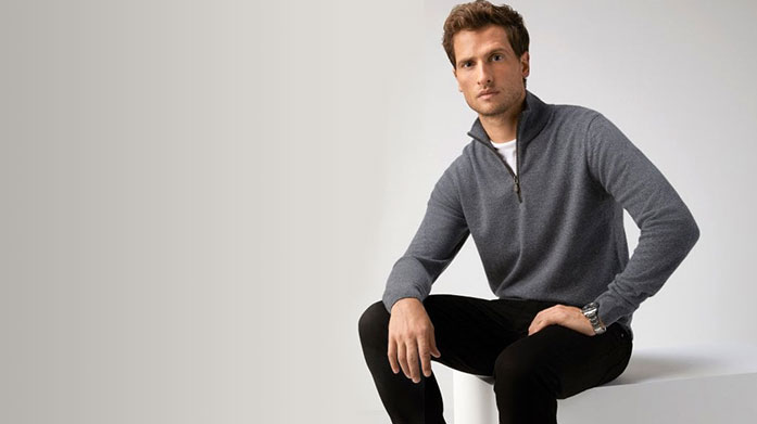 Pure Collection Menswear Treat yourself to a style overhaul this winter courtesy of Pure Collection . Shop men's cashmere jumpers, winter knits and tailored trousers.