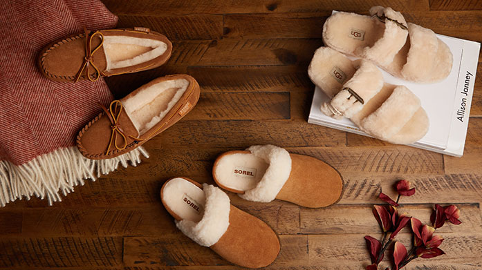 Luxe Sheepskin Slippers Women's It's slipper season, so keep your feet feeling cosy in sheepskin mules and boots for her over the cooler months.