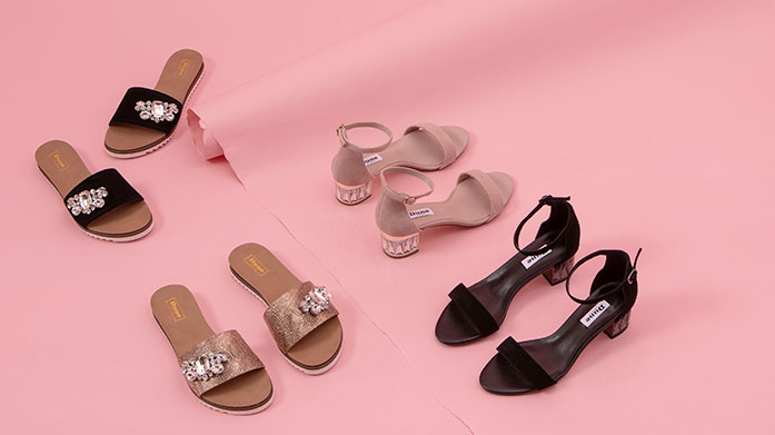 Dune Find the footwear of your dreams in the Dune edit. There's embellished summer slides, chic strappy sandals and luxe metallic stilettos.