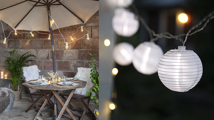 Summer String & Fairy Lights Prep your outside space for warm al fresco evenings with our sparkling collection of fun summer string and fairy lights.