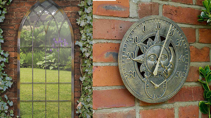 Garden Mirrors & Clocks Bring the interior accents outside with this collection of statement, ornamental clocks and stylish outdoor mirrors.