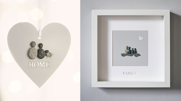 Perfect Gift: Pebble Art Looking for something different? Consider pebble art from La De Da living. Unique hanging hearts and framed images will brighten up the home.