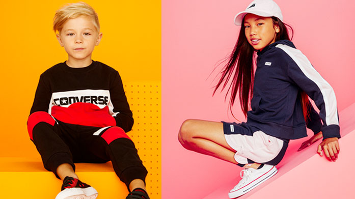 Converse Kids Our latest Converse sale for kids features cute and cosy tracksuits, colourful tees, lightweight jackets, backpacks and more!