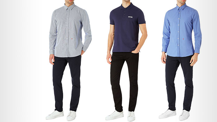 Moschino  Our men's Moschino collection features classic polo t-shirts and timeless long sleeved shirts in an array of wearable shades. Polos from £29.