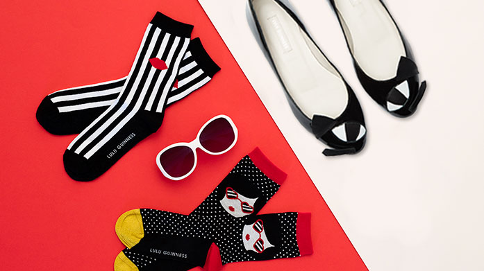 Lulu Guinness Socks & Shoes Add a dash of surrealist inspired art to your outfits with socks and shoes by Lulu Guinness. Choose between quirky flats and playful heels.