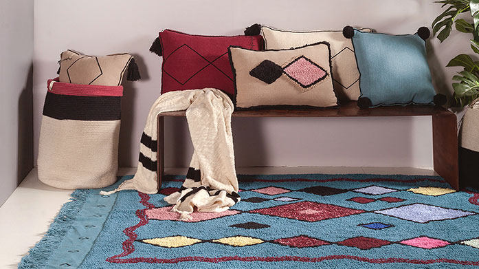 Colourful Interiors: Lorena Canals Get colorful and creative in your home with Lorena Canals collection of geometric rugs, macrame wall hangings and embroidered cushions.
