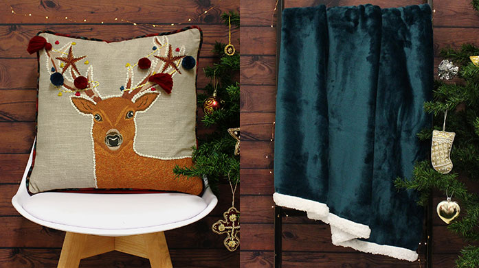 Christmas Cushions & Throws It's time to get festive! We've got cosy snowflake print throws and a host of embellished and slogan Christmas cushions.