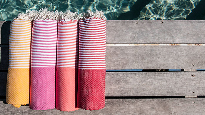 Febronie Hammam Towels Febronie Hammam towels are woven with a flat weave to make them highly absorbent and super light weight - perfect for the beach!