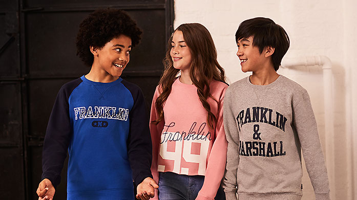 Franklin & Marshall Grab the kids some new weekend comfies from Franklin & Marshall. There's tees, hoodies, sweatshirts, jackets and more.